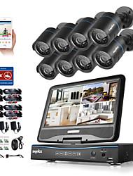 economico -Sannce® 8ch 8pcs 720p IP macchina fotografica lcd dvr sistema di sicurezza weatherproof supportato analogico ahd tvi senza hdd