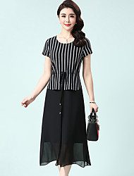 cheap -Women's Daily Plus Size Casual A Line Dress,Check Round Neck Midi Short Sleeves Polyester Summer Mid Rise Inelastic Medium
