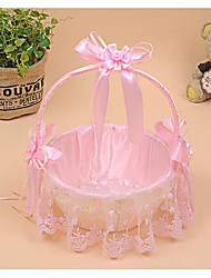 cheap -Portable Rattan Weaving High-Grade Lace Wedding Wedding Flower Basket Flower Petal Basket Receive A Fruit Basket