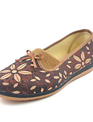 Women's Loafers & Slip-Ons Retro Fabric Autumn/Fall Spring Casual Flat Heel Camel Ruby Flat