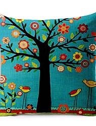 cheap -1 Pcs Cartoon Blue Tree Of Life Cushion Cover 45*45Cm Cotton/Linen Pillow Cover Home Decor