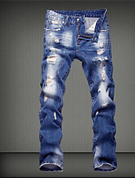 Men's Mid Rise Micro-elastic Loose Jeans Pants,Street chic Solid Cotton Spring All Seasons