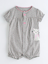 cheap -Baby Girls' One-Pieces, Cotton Summer Short Sleeves Gray