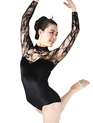 cheap -MiDee Ballet Leotards Women's / Children's Performance Spandex / Gymastics / Lace Velvet / High Neck Long Sleeves Leotard / Headpieces