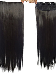 Black Color Clip In/On Hair Extensions Synthetic Straight Hair Extension For Women
