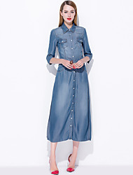 cheap -MARY YAN&YU Women's Going out Work Holiday Casual Street chic A Line Dress,Solid Shirt Collar Midi Knee-length Short Sleeves Silk Polyester Spring