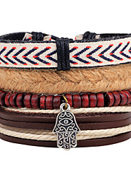 Men's Wrap Bracelet Fashion Vintage Punk Hip-Hop Rock Leather Geometric Jewelry For Party Anniversary Birthday Gift Sports