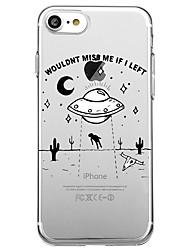 Недорогие -Для iphone 7 плюс 7 чехол для крышки экологически чистый прозрачный узор задняя крышка чехол мультяшное слово / фраза soft tpu для iphone
