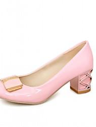 Feminino Sapatos Couro Envernizado Primavera Outono Conforto Inovador Saltos Caminhada Salto Grosso Ponta Redonda Laço Poa Para Casual