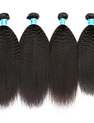 cheap -Vinsteen Indian Human Hair Extensions Kinky Straight Virgin Hair Weft 4Pcs Lot Natural Black Hair Bundles Curly Human Hair Weaves