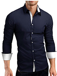 cheap -Men's Party Birthday Party Evening Graduation Thank You Business Casual Spring Fall Shirt,Solid Shirt Collar Long Sleeves Cotton Blend 30D