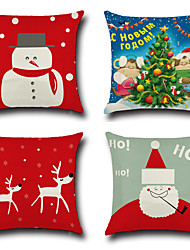 cheap -Set Of 4 Merry Christmas Design Reindeer Snowman Pillow Cover Cotton/Linen Creative Pillow Case 45*45Cm Cushion Cover