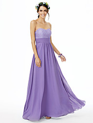 cheap -A-Line Sweetheart Floor Length Chiffon Lace Bridesmaid Dress with Lace Sash / Ribbon Ruched by LAN TING BRIDE®
