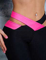 preiswerte -Damen Mittel Polyester Einfarbig Genähte Spitzen Sportlich Legging, Blau Grün Rosa