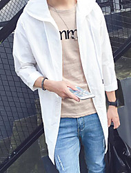 Men's Daily Simple Casual Fall Trench Coat,Solid Hooded Long Sleeve Long Nylon