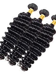 Недорогие -Натуральные волосы Индийские волосы Человека ткет Волосы Глубокие волны Наращивание волос 1 шт. Черный как смоль