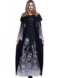 Women's Skull Witch Long Vampire Suit Dress Costume