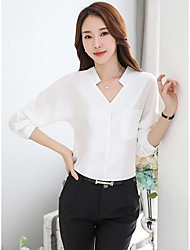 cheap -Women's Casual Summer Blouse,Solid V Neck Long Sleeves Polyester Thin
