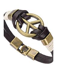 abordables -Homme Bracelets en cuir - Cuir Naturel, Mode Bracelet Noir Pour Occasion spéciale / Cadeau