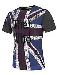 Masculino Camiseta Para Noite Casual Bandagem Simples Activo Todas as Estações Verão,Letra Algodão Elastano Decote Redondo Manga Curta