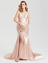 cheap -Sheath / Column V-Neck Court Train Satin Formal Evening Dress with Ruching Split Front by TS Couture®