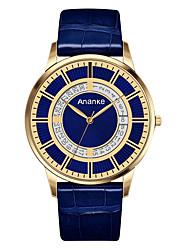 abordables -Hombre Reloj de Vestir Reloj de Moda Cuarzo Gran venta Cuero Auténtico Banda Casual Negro Azul