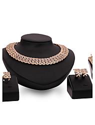 baratos -Mulheres Conjunto de jóias - Strass, Chapeado Dourado Flor Importante, Personalizada, Luxo Incluir Dourado Para Festa Ocasião Especial Housewarming / Anéis