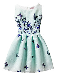 cheap -Girl's Geometric Print Fashion Dress,Cotton Summer Sleeveless Floral Bow Light Green