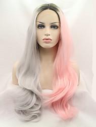 abordables -Cheveux Synthétiques Perruques Droite Ligne de Cheveux Naturelle Lace Front Perruque Naturelle Long Gris Rose