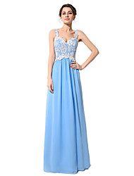 Sheath / Column Straps Floor Length Chiffon Formal Evening Dress with Beading Appliques by Sarahbridal