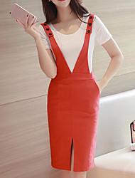Mujer Sencillo Casual/Diario Verano T-Shirt Vestidos Trajes,Con Tirantes Un Color Sin Mangas Microelástico