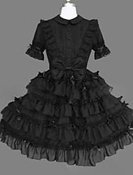 billiga -Prinsessa Gotisk Lolita Punk Klänningar Cosplay Svart Balklänning Holk Kortärmad Kort / mini Plusstorlekar Anpassad Kostymer