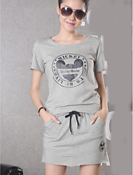 cheap -Women's Daily Casual Summer T-shirt Skirt Suits,Print Round Neck Short Sleeve 70%Wool30%Cotton Micro-elastic