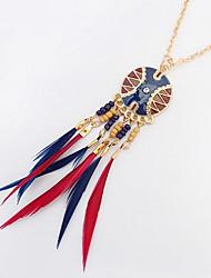 Жен. Ожерелья-бархатки Ожерелья с подвесками Заявление ожерелья Бижутерия Бижутерия Резина Перья Сплав Базовый дизайн Круглый дизайн