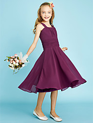 cheap -A-Line Straps Knee Length Chiffon Junior Bridesmaid Dress with Draping Sash / Ribbon Ruching by LAN TING BRIDE®