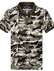 billige -Herre Trekking T-shirt Udendørs Åndbart T-Shirt Toppe Campering & Vandring
