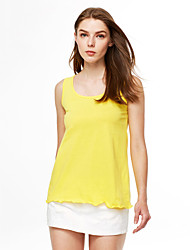 cheap -Women's Cotton Tank Top - Solid Colored Ruffle Pleated