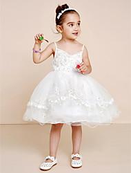 Princess Knee Length Flower Girl Dress - Tulle Sleeveless Spaghetti Straps with Ribbon