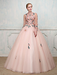 Ball Gown Princess Illusion Neckline Floor Length Tulle Formal Evening Dress with Beading Embroidery Lace by SG