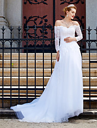 cheap -A-Line Off-the-shoulder Court Train Tulle Wedding Dress with Sequin Appliques Button by LAN TING BRIDE®