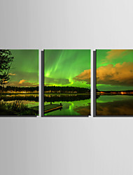E-HOME Stretched Canvas Art  Beautiful Sceneries Of Aurora Decoration Painting Set Of 3