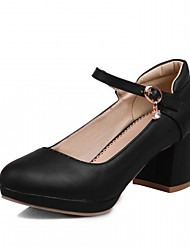 cheap -Women's Heels Leatherette PU Summer Fall Walking Buckle Chunky Heel White Black Beige Blushing Pink 2in-2 3/4in