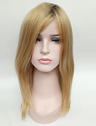 Syntetisk hår Parykker Ret Ombre-hår Lågløs Naturlig paryk Medium Blond
