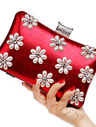 Women Bags Spring Summer Fall Winter All Seasons PU Polyester Evening Bag Imitation Pearl Flower for Wedding Event/Party Casual Formal
