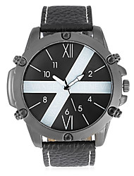 JUBAOLI Men's Fashion Watch Unique Creative Watch Chinese Quartz Calendar Large Dial Stainless Steel Band Cool Black