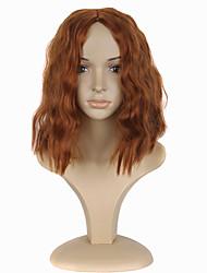 Donna Parrucche sintetiche Senza tappo Medio Riccio Arancione Parrucca Cosplay costumi parrucche