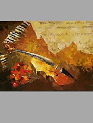cheap -Hand-painted Oil Painting The score on the keyboard Wall Art with Stretched Framed Ready to Hang
