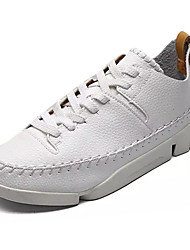 abordables -Hombre Zapatillas de deporte Confort PU Primavera Otoño Casual Confort Con Cordón Tacón Plano Negro Beige Azul Plano