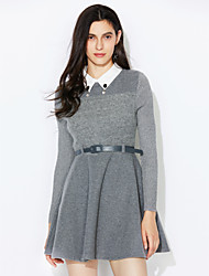 cheap -Women's Going out A Line Dress - Solid Colored Pleated Shirt Collar