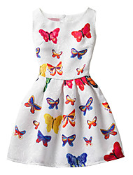 Girl's Cotton Fashion And Lovely  Colorful Butterfly  A-line Collect Waist Vest Printing Princess Dress